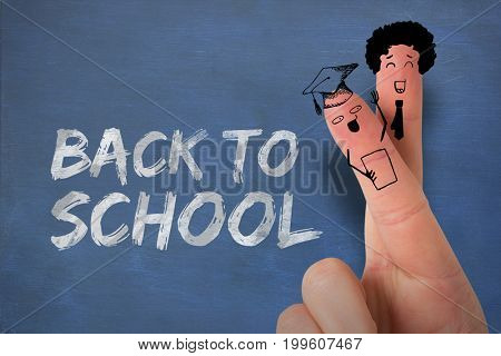 Graphic anthropomorphic smiley faces of students on fingers against graphic image of red back to school text