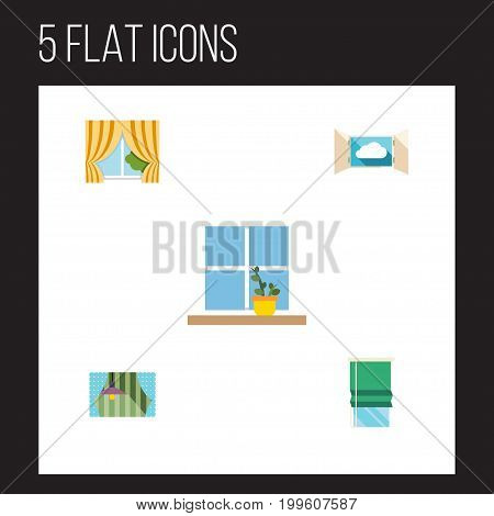 Flat Icon Window Set Of Glass Frame, Balcony, Flowerpot And Other Vector Objects