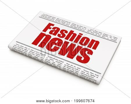 News concept: newspaper headline Fashion News on White background, 3D rendering