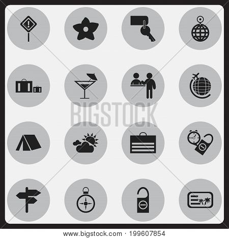 Set Of 16 Editable Travel Icons. Includes Symbols Such As Do Not Disturb, Entrance, Briefcase And More