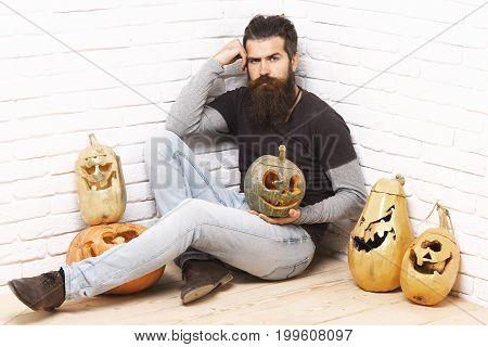 Hipster With Golden Pumpkins