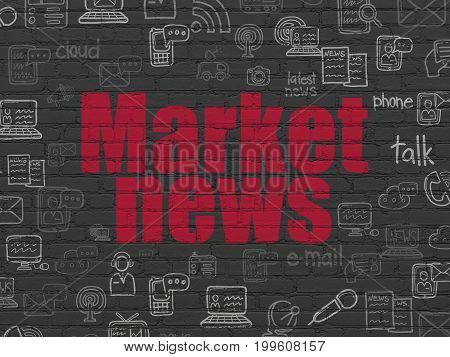 News concept: Painted red text Market News on Black Brick wall background with  Hand Drawn News Icons