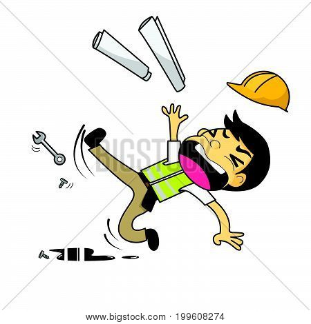 Construction engineer architect worker slipping on grease vector illustration