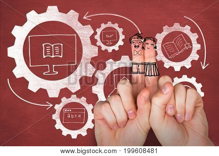 Digital anthropomorphic smiley faces of friends on fingers against composite image of education icons on gears