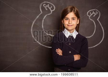 Vector image of hand flexing muscles against cute pupil smiling at camera