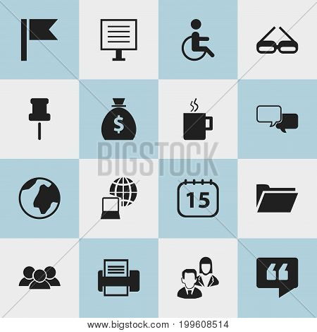 Set Of 16 Editable Bureau Icons. Includes Symbols Such As Handicapped, Date Block, Mug