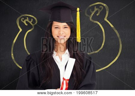 Vector image of hand flexing muscles against portrait of cheerful graduated woman