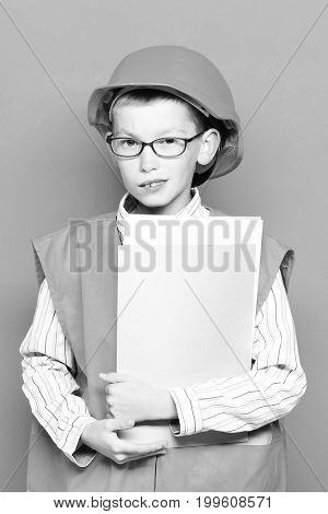 Young Cute Builder Boy