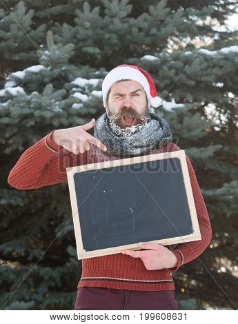 shouting man in santa claus hat hipster with beard and moustache covered with white frost points at blank black board or chalkboard on winter day on natural background copy space