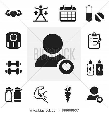 Set Of 12 Editable Lifestyle Icons. Includes Symbols Such As Training, Scales, Muscle And More