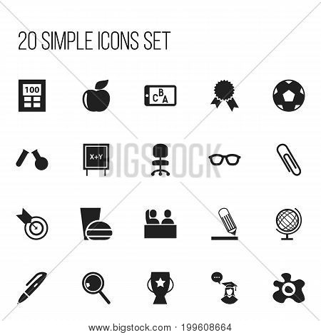 Set Of 20 Editable Teach Icons. Includes Symbols Such As Calculator, Earth Planet, Dartboard And More