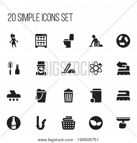 Set Of 20 Editable Cleanup Icons. Includes Symbols Such As Ecology, Exhauster, Dishwasher And More