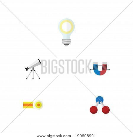 Flat Icon Knowledge Set Of Lightbulb, Nuclear, Attractive Force And Other Vector Objects