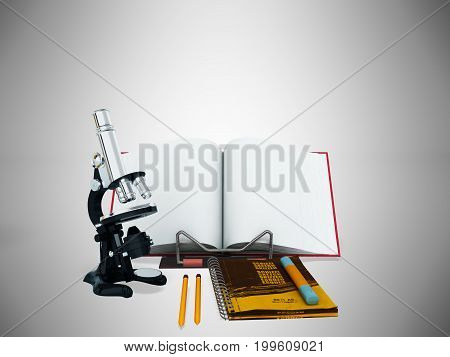 Concept Of School And Education Biology Microscope Notebook 3D Render On Gray Background