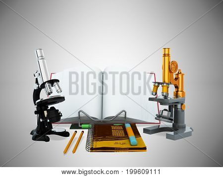Concepts Of School And Education Biology Microscope 3D Render On Gray Background