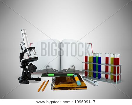 Concepts Of School And Education Biology Test Tubes 3D Microscope Render On Gray Background
