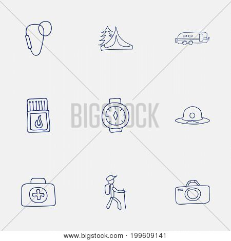 Set Of 9 Editable Camping Doodles. Includes Symbols Such As Hiker, Flammable Stick, Carabine And More