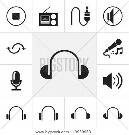 Set Of 12 Editable Sound Icons. Includes Symbols Such As Earflaps, Break Music, Earphone And More