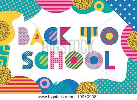 Back to school. Trendy geometric font in memphis style of 80s-90s. Abstract geometric background