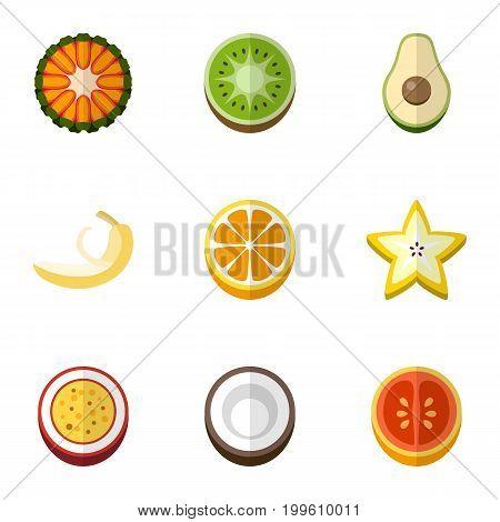 Set Of 9 Editable Dessert Flat Icons. Includes Symbols Such As Cocos, Guava, Mandarins