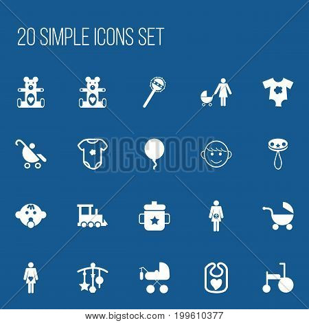 Set Of 20 Editable Baby Icons. Includes Symbols Such As Goplet, Adorn, Carriage And More
