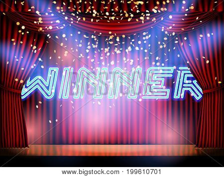 Winner neon lettering live stage on background with red curtain stage.