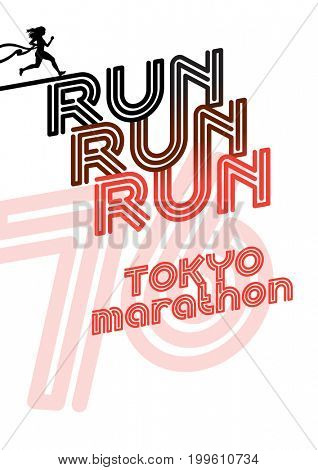 Run Boston marathon sport poster.