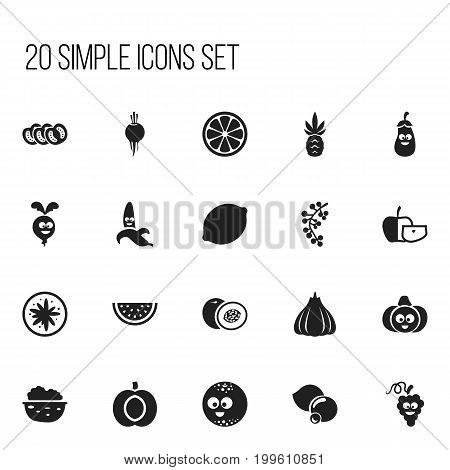 Set Of 20 Editable Kitchenware Icons. Includes Symbols Such As Muskmelon, Vegetable, Onion And More