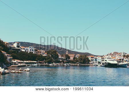 Greek Island Of Skiathos Summer Travel Background, Vacation, Relaxation.