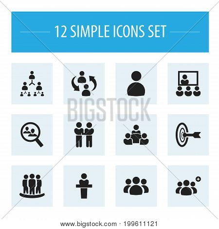 Set Of 12 Editable Team Icons. Includes Symbols Such As Hierarchy, Command, Publicity