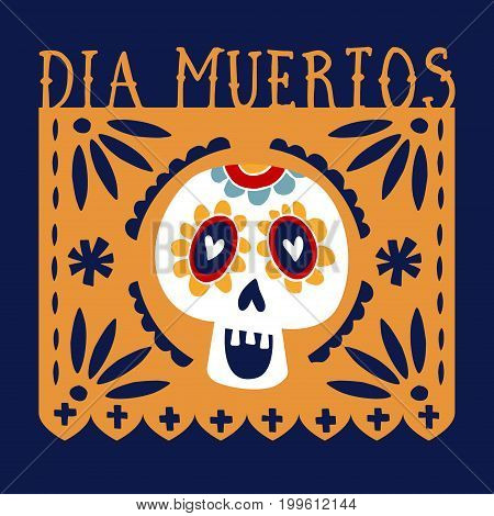Dia de los Muertos greeting card, invitation. Mexican Day of the Dead. Handmade paper cut party flag with ornametal scull, calavera catrina. Hand drawn vector illustration, background. Web banner.