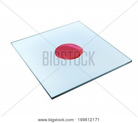 Drop of blood on glass slide for microscope 3d rendering
