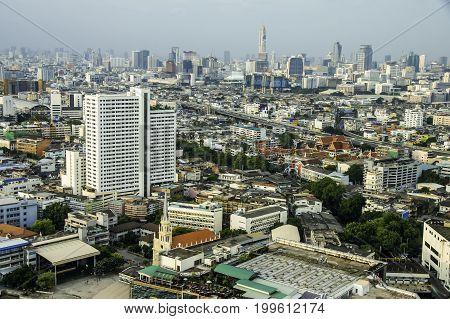 Aerial view of beautiful Bangkok City downtown.