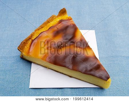 Custard tarte Slice of French delicious custard flan (tarte)