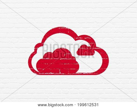 Cloud computing concept: Painted red Cloud icon on White Brick wall background