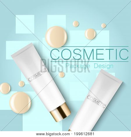 Concealer and a drop of the design template advertising cosmetics 3d. Top view on a blue background realistic illustration of a packaging design cream. Vector illustration