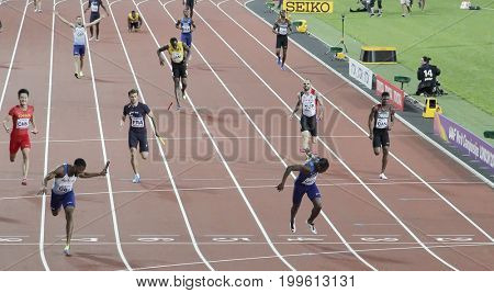 LONDON, ENGLAND - AUGUST 12 2017: Great Britain team win the 100 metre relay as Usain Bolt of Jamaica pulls up injured during the 16th IAAF World Athletics Championships London at The London Stadium