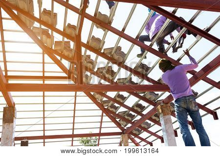 structure Building home construction work Install Roof Tile concrete