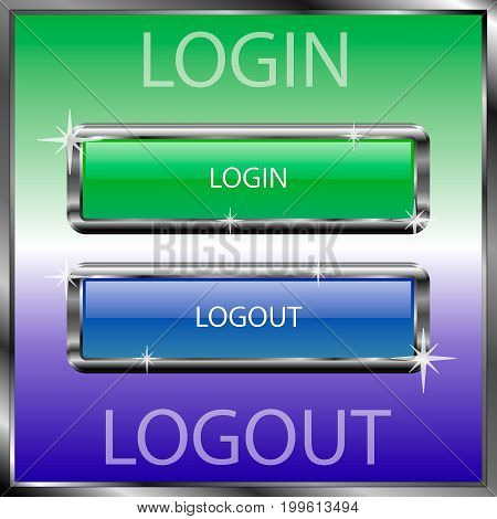 Login and logout buttons on a color reflective surface