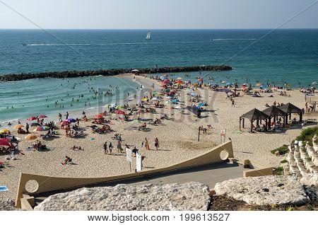 ASHKELON ISRAEL - AUGUST 11 2017: City beach in Ashkelon on the Mediterranean Sea