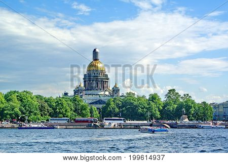 View of the Neva River and St. Isaac's Cathedral on a sunny day