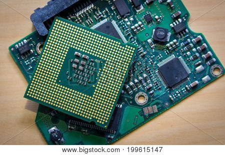 Technology background with computer processors CPU concept and blue circuit, board texture.
