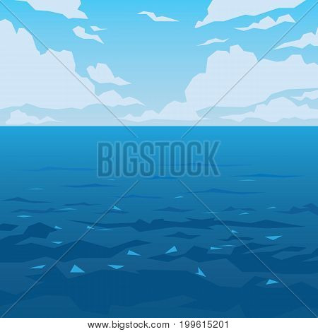 Sea or ocean landscape. Vector illustration of seascape with water waves and sky with some clouds in flat faceted style. Scene for your design and artwork. Ocean view at daytime. Poster.