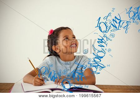 letter and number jumble against young girl writing in her book against white background
