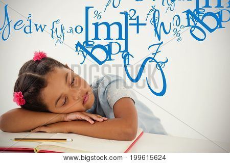 letter and number jumble against young girl sleeping with her head on desk