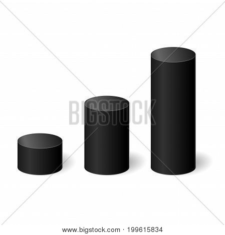Black 3D cylinders with a shadow. Vector illustration.