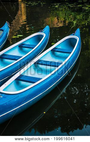Canoes for hire on the lake in municipal city park. Hamburg.