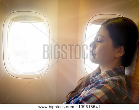 Tired Brunette Casual Asian Lady Napping