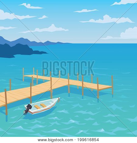 White boat with motor. Tropical ocean landscape with wooden dock. Summer sky, clouds. Vector illustration of seascape with motorboat moored to pier in flat faceted style for design, articles, print.