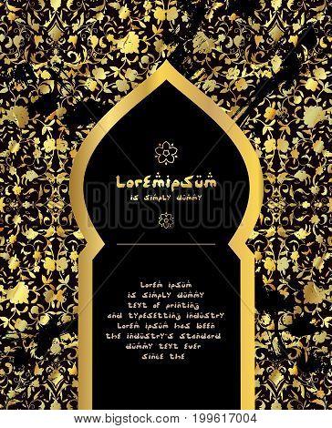 Islamic style brochure, flyer design, flower gold and ornament. Card for cafe, restaurant, shop, print. Border. India, Arabic Dubai turkish Islam pakistan ottoman motifs